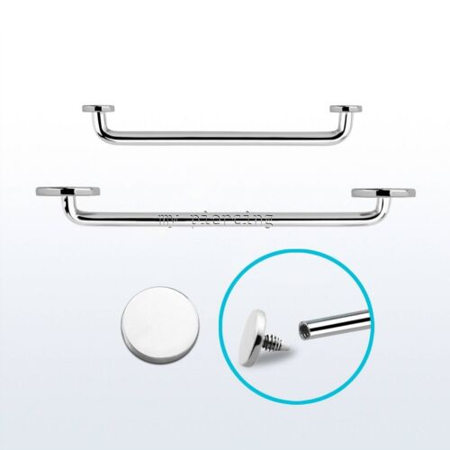 """Flat Disc Top Internally Threaded Surgical Steel Surface Barbell 14G 5//8/"""" to 1/"""""""