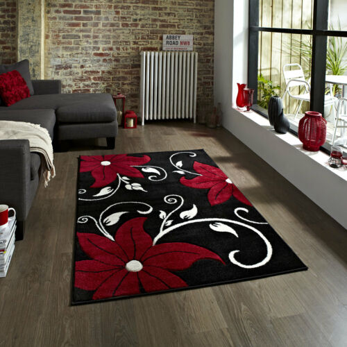 Black Red Soft Small Large Modern Rug Runner Floral Carved Verona 12mm Thick