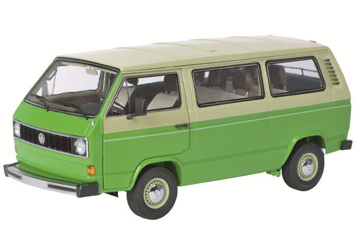 1979-1990 Volkswagen T3 Bus verde Beige 1 18 Diecast Modelo Coche Schuco 450038000