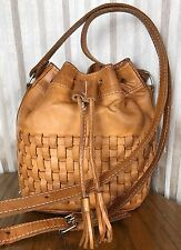 VTG Force Ten /Amerca West British Tan Woven Leather Bucket Cross Body Bag