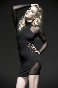 SALE-Punk-Rave-Bodycon-Gothic-Industrial-Sheer-Cut-out-Dress-Black-Size-8-10