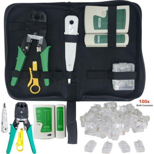 RJ45 Ethernet Cable Tester Crimper Stripper Cutter Punch Tool Network Kit LOT