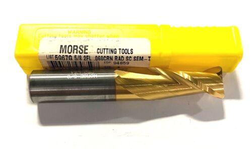 """Morse 5//8/"""" Carbide End Mill Tin Coated .060 Corner Radius 2 Flute USA Made"""