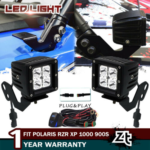 "for Honda Pioneer Pillar 3/"" LED Lights Pods Cube+Below Windshield Mount Brackets"