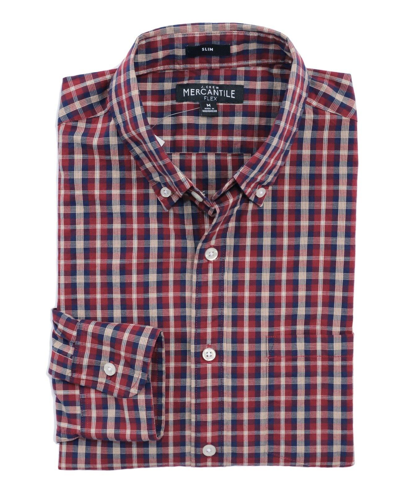 J.Crew Mercantile Mens S Slim Fit - NWT - Red Navy Plaid Flex Washed Shirt