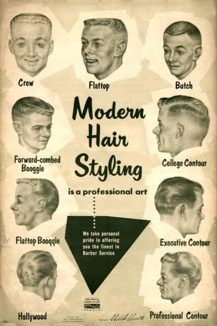 1950s Mens Hairstyles Art Print Barber Hair Styles Mid Century