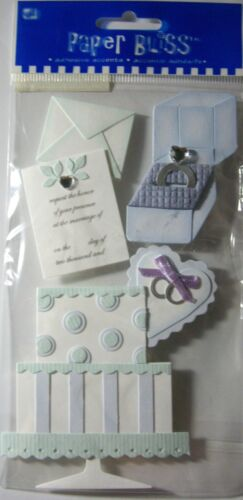 NEW 5 pc WEDDING Cake Invitation Rings Engagement Ring PAPER BLISS 3D Stickers