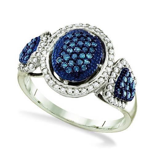 bluee Diamond Ring 10K White gold bluee & White Diamond Oval Cluster Ring .50ct