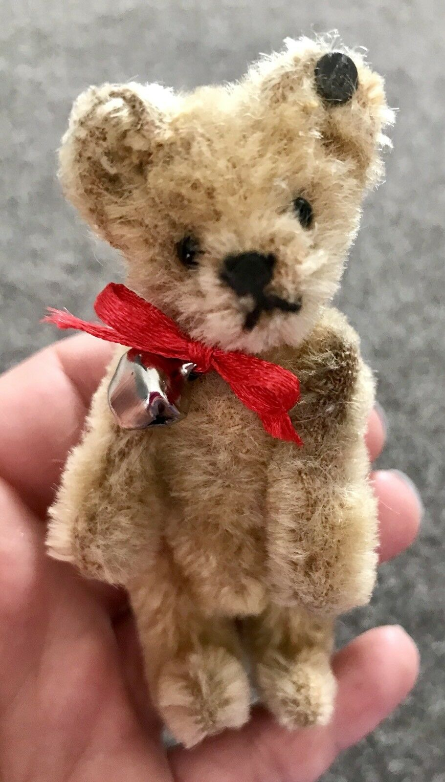 RARE ANTIQUE Circa 1910 Steiff 3.75  Miniature Bear OLD FF BUTTON LOOK NICE NR