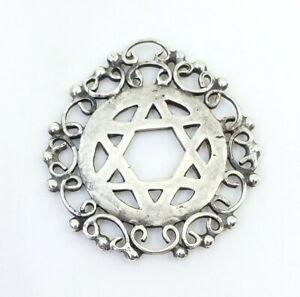 Fine-Vintage-Sterling-Silver-Magen-Star-Of-David-Judaica-Ornate-Pendant-Necklace