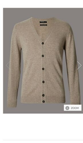 M /& S AUTOGRAPH MENS BEIGE 100/% PURE CASHMERE V-NECK BUTTON THROUGH CARDIGAN