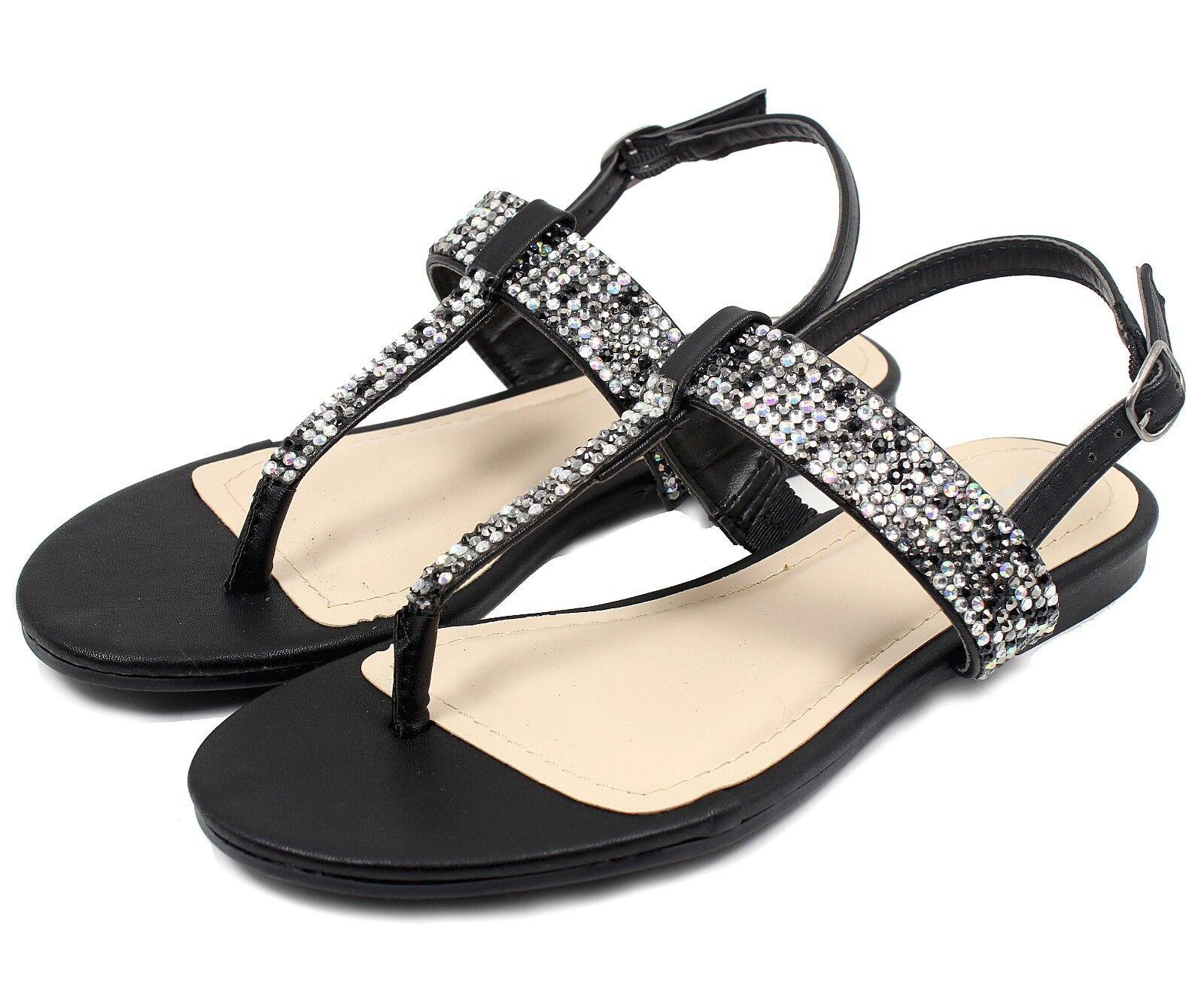 JOSALYN-22 Fushion Women Bead Flat T-Strap Cute Sandals Party Women Fushion Shoes Black 6.5 5a4fd7