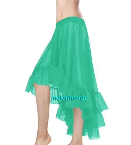Ruffle Asym Skirts Belly Dance Chiffon Flamenco Gypsy Dancewear Jupe Tiered Boho