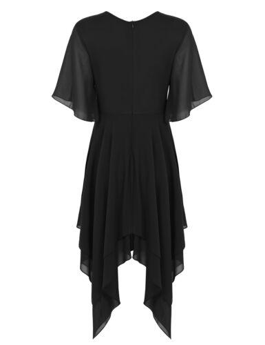 Lyrical Women Lady Round Neck Asymmetric Chiffon Modern Skirt Ballet Dance Dress