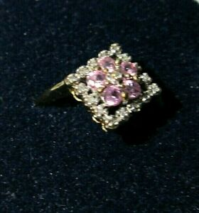 Vintage-fine-9ct-gold-ring-set-with-diamonds-amp-pink-sapphires