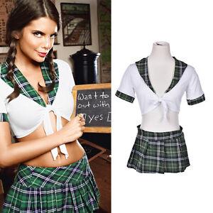 Women-Sexy-Lingerie-Halloween-School-Girl-Uniform-Fancy-Dress-Costume-Outfit-JR
