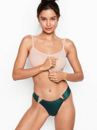 NEW Victoria Secret Luxe Lingerie V Hardware Brazilian Panty VS Color Black Ivy