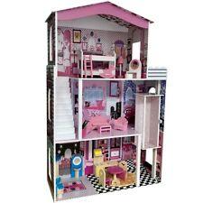 Großes Holz Puppenhaus Barbiehaus Traumhaus Puppenstube Set mit Möbeln Villa