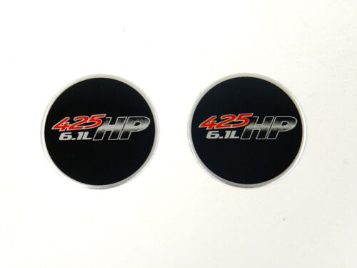 2 ROUND 6.1L 425 HP ALUMINUM EMBLEMS BADGES RARE PAIR