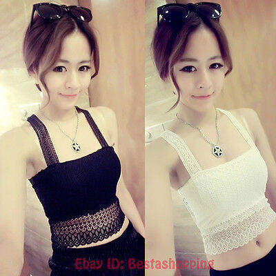 Sexy Women Lace Wrapped Chest Strap Sleeveless Shirt Vest Blouse Tank Crop Top