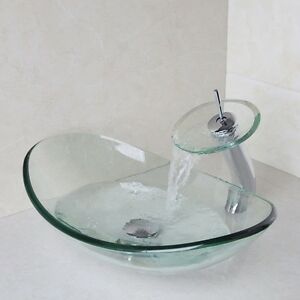 Waterfall Sink Bowl : ... -Counter-Top-Vanity-Bowl-Tempered-Vessel-Sink-Waterfall-Faucet-y692