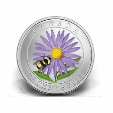 2012 Canada 25 cent Coloured Coin - Aster and Bumble Bee