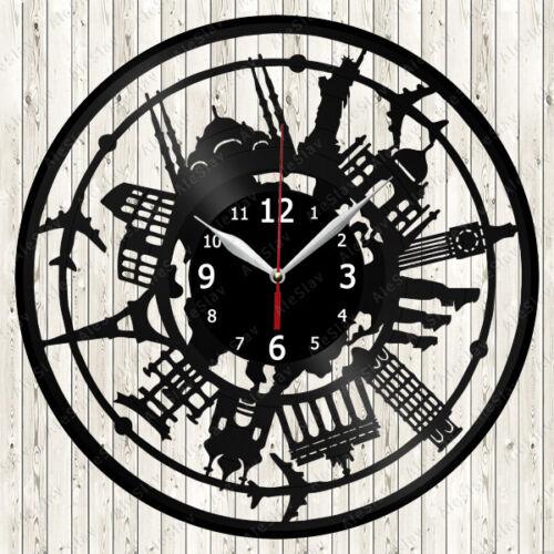 Traveling Vinyl Record Wall Clock Decor Handmade 1829