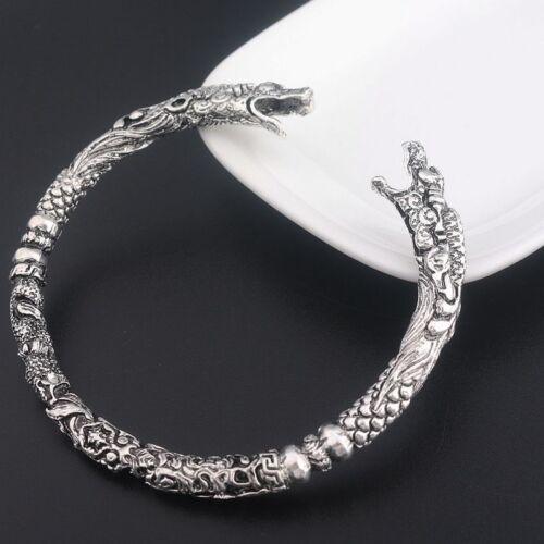Unisex Antik Silber Wolf Armspange Wikinger Keltisch Drache Vikinger Armreif New