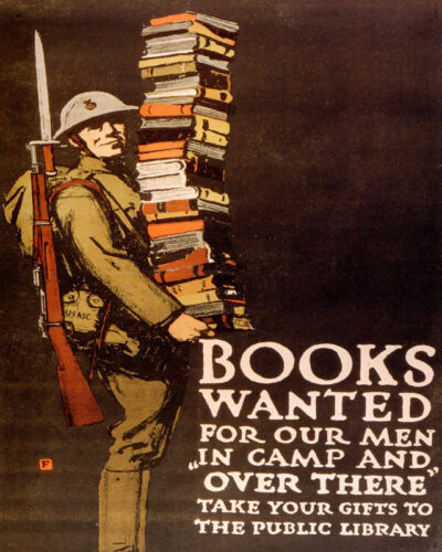 POSTER BOOKS WANTED FOR OUR MEN IN CAMP WAR USA ARMY VINTAGE REPRO FREE S//H