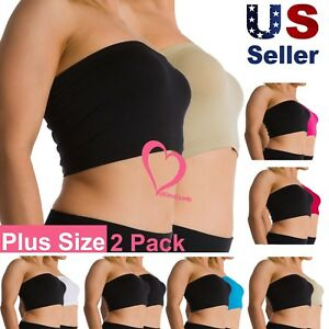 61cbc7744 Image is loading 2-Pack-Women-Plus-Size-Seamless-Strapless-Bandeau-