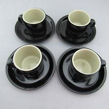 NEW Set of 4 Black Celebrity Stoneware Cappuccino / Espresso Cup & Saucer Sets