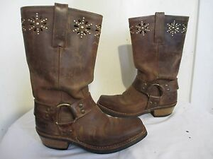 Frye 77700 Harness Flower Brown Leather Motorcycle Boots Women S Sz