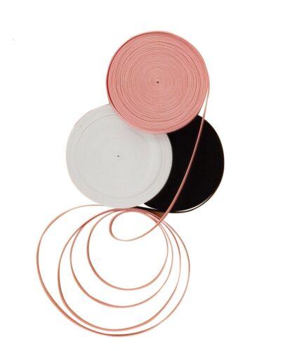PEACH WHITE OR BLACK BALLET SHOE ELASTIC PER METRE IN