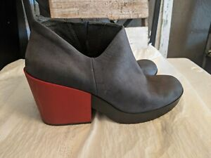 Camper-KAROLINA-Lucy-Chill-Boot-in-gray-leather-red-heel-EU-40-U-S-Size-9-5