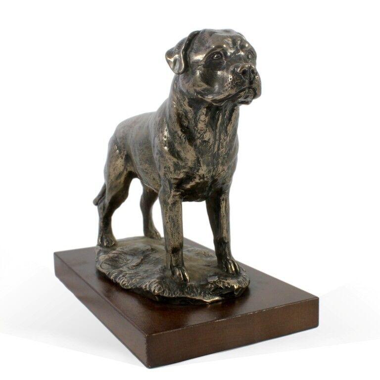 rossotweiler type 3 - dog figurine on wooden base, high quality, Art Dog