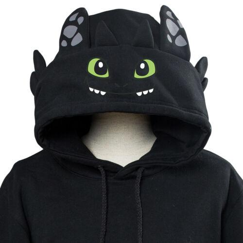 Dragon Toothless /& White Furry Pullover Hoodie Cosplay Sweatshirt Unisex Coat