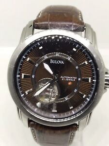 Bulova-C877597-Automatic-Stainless-Steel-amp-Leather-21-Jewels-Watch