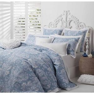 New-LOGAN-and-MASON-JORDANA-BLUE-Waffle-Weave-QUEEN-Size-Quilt-Doona-Cover-Set