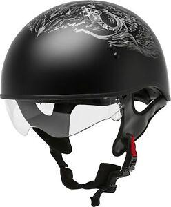 GMAX GM65 PIN Naked Motorcycle Half Helmet (Flat Black
