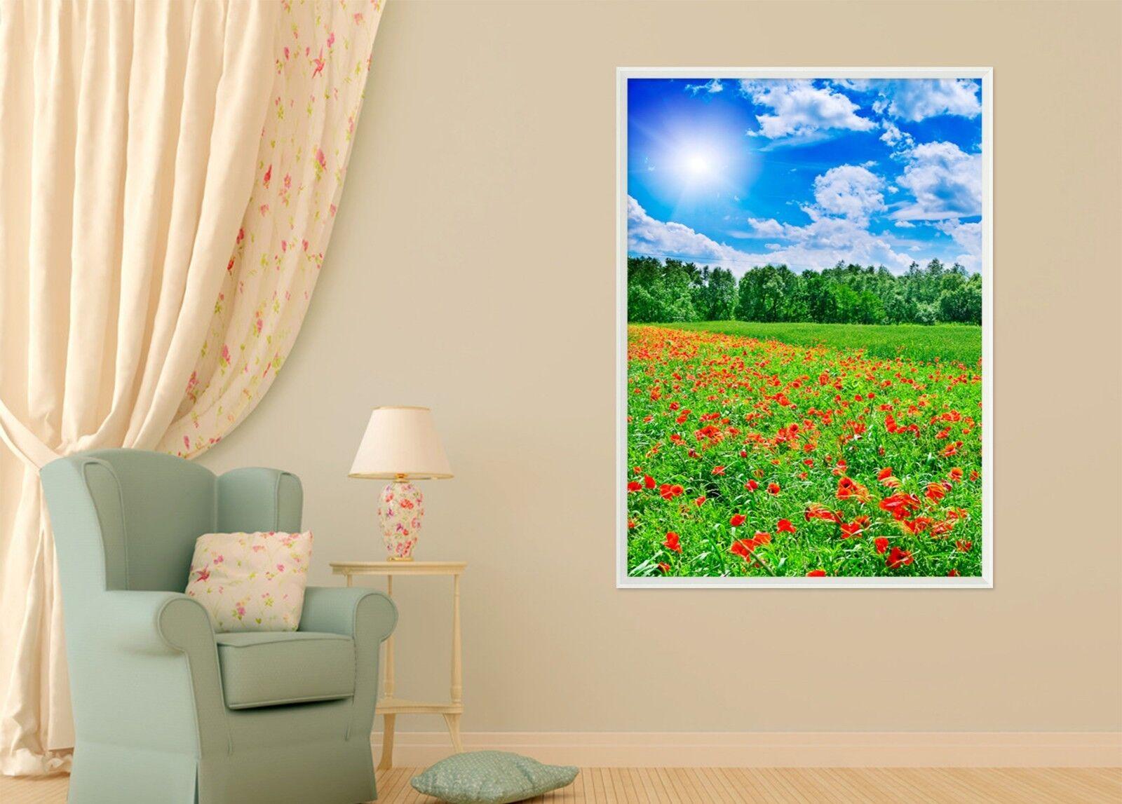 Campo de Flor de Sol 3D 51 Póster Enmarcado Decoración del Hogar Pintura de Impresión Arte AJ