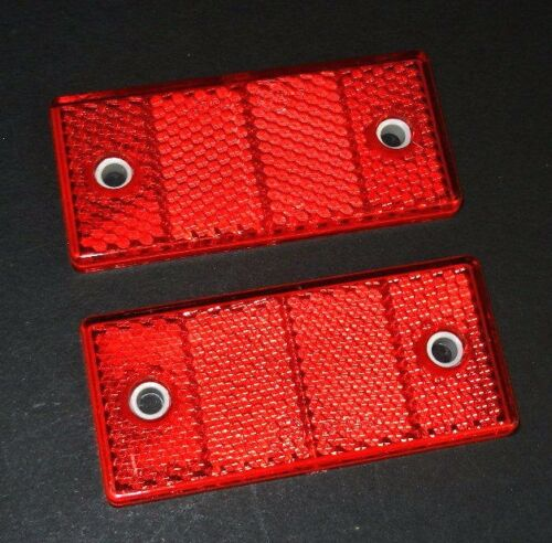 2 X RED REFLECTORS RECTANGULAR 70 x 30 mm E-APPROVED PAIR SET TRAILER CARAVAN