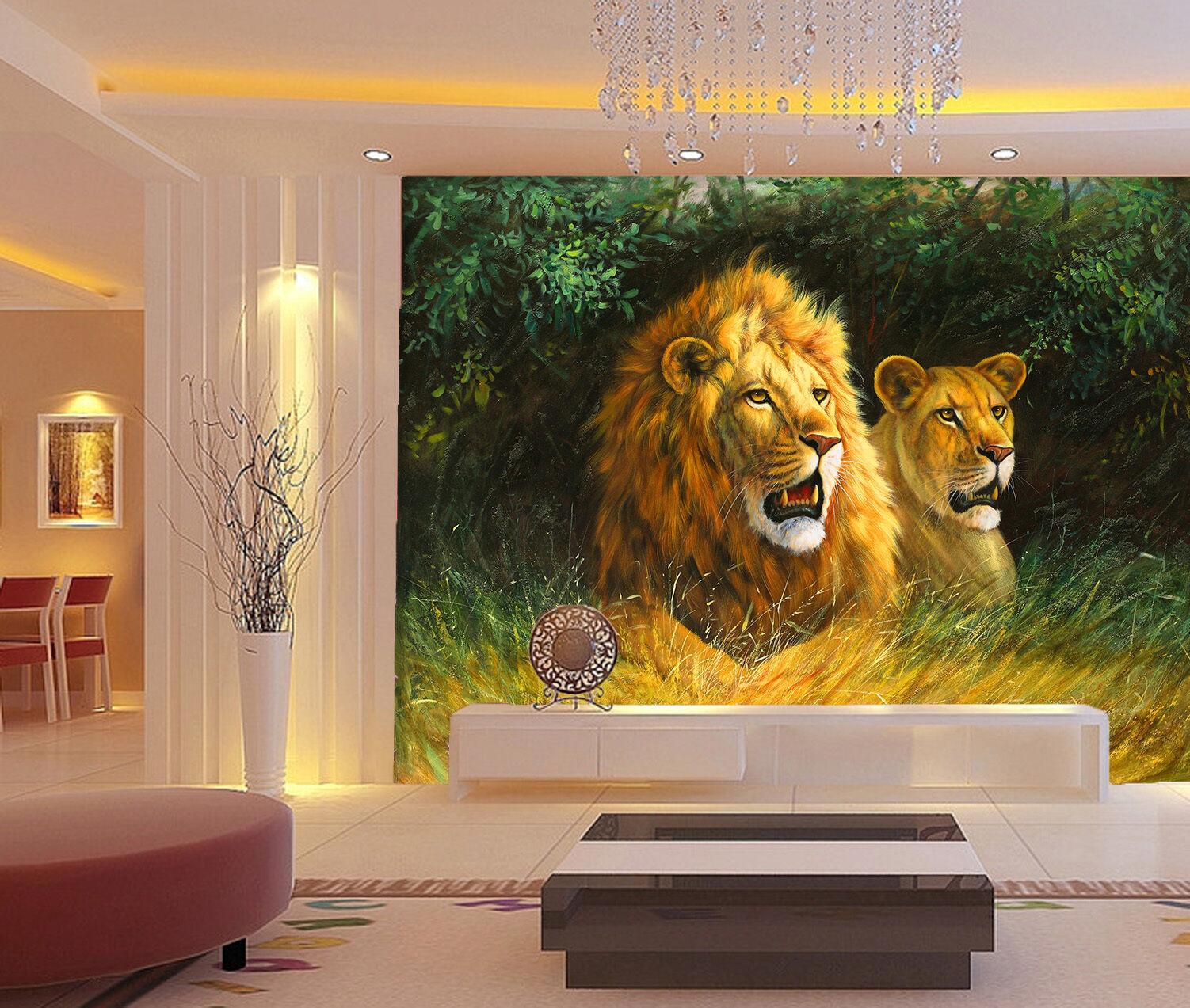 3D Jungle Lion Painting Wall Paper Wall Print Decal Wall AJ WALLPAPER CA