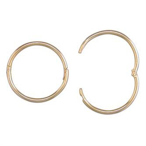 9ct Gold 15 mm Mens Hinged Hoop 1 Sleeper Earring