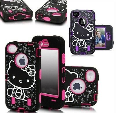 New Cute Hello Kitty Shockproof Hybrid Case Cover For iPhone 4 4S 5 5S 6 6S Plus