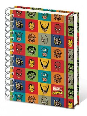 MARVEL COMIC FACES RETRO A5 HARDCOVER NOTEBOOK NEW LINED OFFICIAL MERCHANDISE