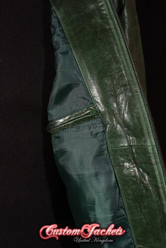 RENEGADE Mens Leather Jacket Green Glazed Motorcycle Biker Style Leather Jacket