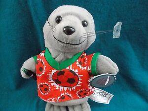 Seal-plush-Coke-8-034-beanie-toy-soccer-shirt-bottle-1999-vintage-coca-cola