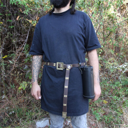 Medieval Authentic 100/% Leather Wine Juice Black Bottle Case Holder