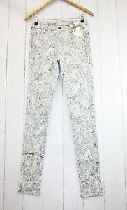 cream-Pantalon-Laney-Pantalones-Gr-36-elastico-estampado-de-flores-NUEVO