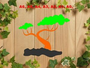 Classic-Bonsai-Shape-Tree-Stencil-350-micron-Mylar-not-thin-stuff-FL012